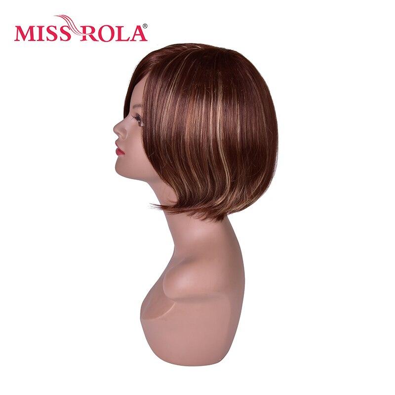 Мисс Рола 10 короткие прямые парики для Для женщин BOBO волос коричневый Ombre синтетический парик со светлыми Основные Высокая Температура вол...