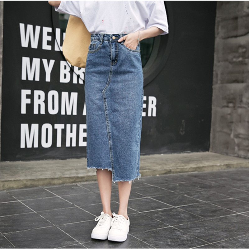 Women Denim Skirt Vintage Button High Waist Blue Slim Women Skirts Ladies Office Sexy Mid-long Jeans Skirt C278(China)