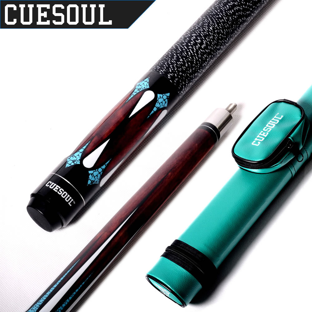 CUESOUL 1/2 Jointed 19 Oz Maple Billiard Pool Cue With Green Cue Case,Pool Cue Stick With 13 mm Cue Tip