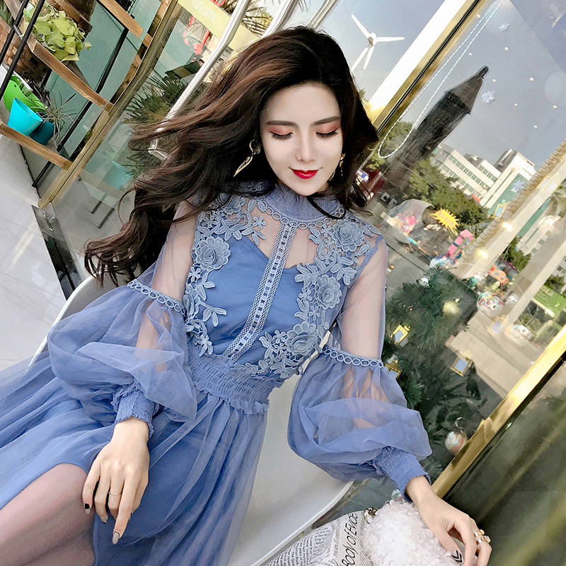 2018 Spring Women Mesh Patchwork Lace Elegant Dresses Girls Long Lantern Sleeve Fairy Chic Dress for Woman Платье