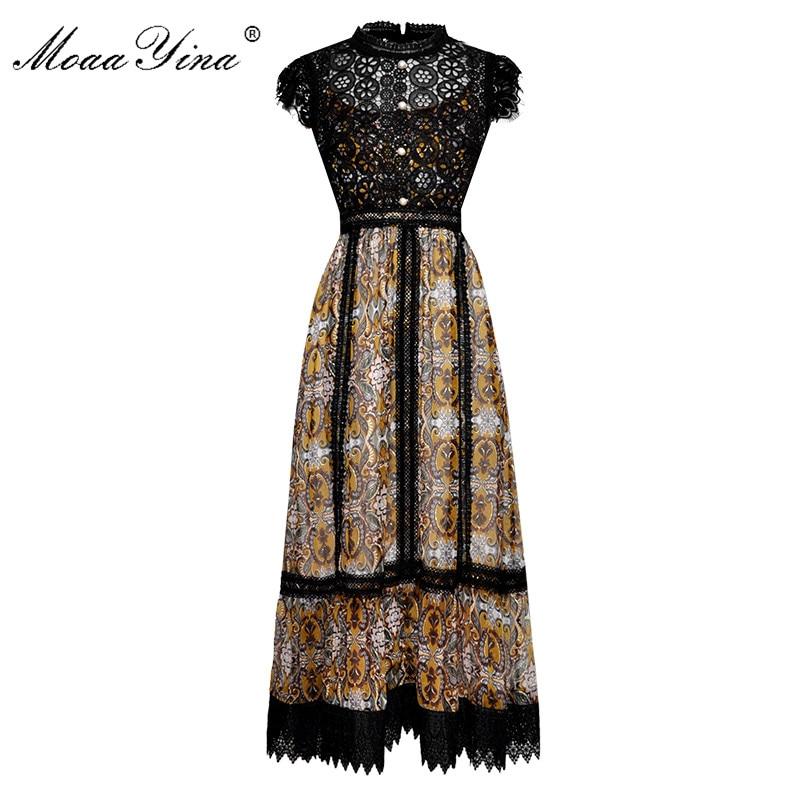 MoaaYina Fashion Designer Piste robe D'été Femmes Robe Perle Bouton Voir à travers Dentelle Patchwork Vintage Élégant Robes