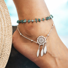 Fashion Lucky Eye Beads Anklet Double-layered Beach Feather Pendant Geometric Anklet Bracelet For Women Jewelry Gifts