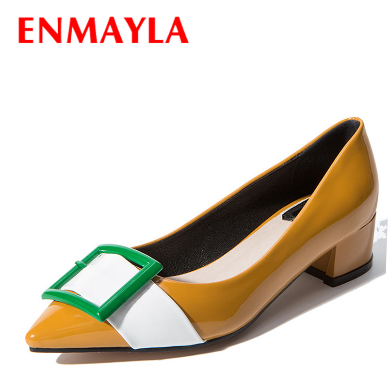 ENMAYLA Women Mixed Colors Pointed Toe Pumps Low Heels Slip On Shoes Woman Square Heels Buckle Dress Court Shoes Size 43