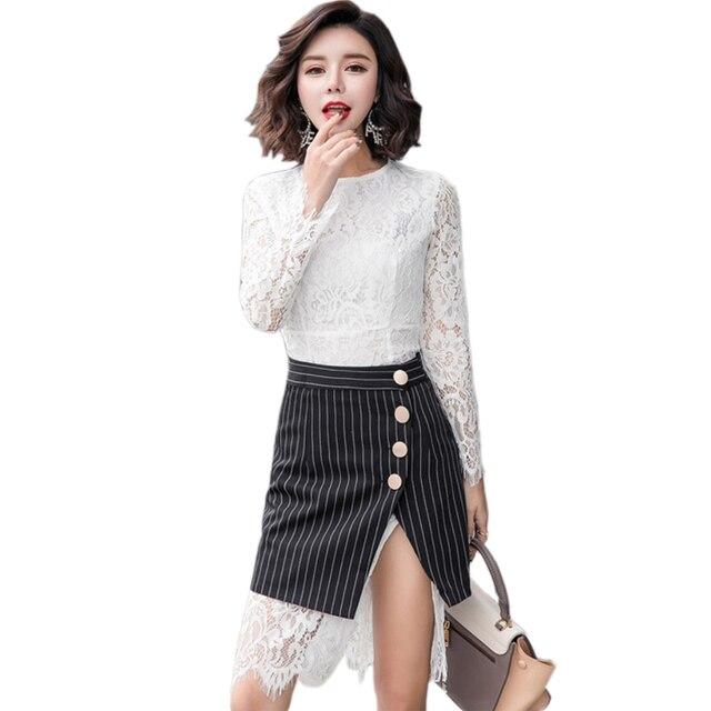 8dc3fdd6c Moda coreano Vestido de Renda Roupas Femininas Outono Inverno Lace Two-piece  Suit Vestido Listrado