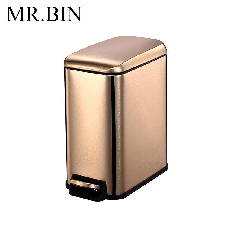 MR. BIN 5L Нержавеющая Сталь Шаг Мусорный бак педаль мусорное ведро с PP внутренний бак мусорное ведро современный простой мусорное ведро для дома - Цвет: Gold