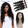 10A 360 Lace Frontal With Bundles Brazilian Virgin Hair With Frontal Closure Pre Plucked Lace Frontal Weave Loose Wave Curly