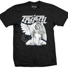 4342ffcd8571d 2018 летняя крутая футболка племенная Шестерня мышь Ангел Мужская черная  футболка татуировка Pin Up Girl Graphic