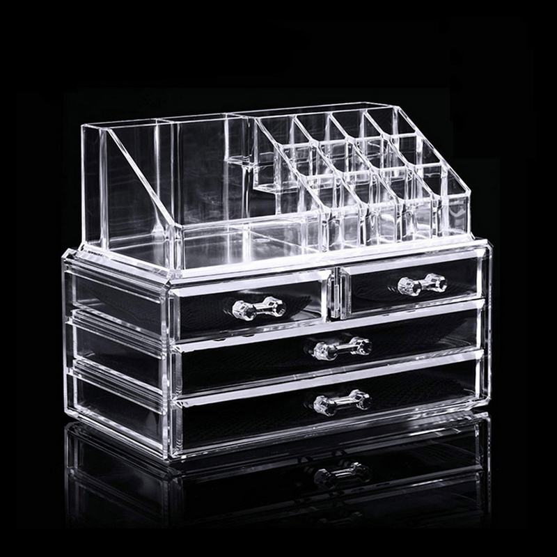 Mordoa Acrylic Makeup Organizer Storage Box Cosmetics Locker Clean and Transparent Jewelry Boxes Nail Polish Rack Lipstick Frame acrylic cosmetics makeup and jewelry storage box 3 small drawers space saving