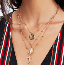 X86 Multilayer Cross Virgin Mary Pendant Beads Chain Christian Neckalce Goddess Catholic Choker Necklace Collier For Women(China)