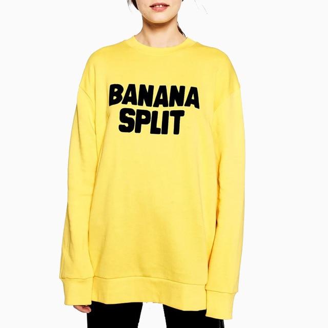faad246aa Autumn Women's BANANA SPLIT Letters Yellow Pullovers Sweatshirt Girls Round  Neck Casual Hoodies Shirts Hoody Sweatshirts