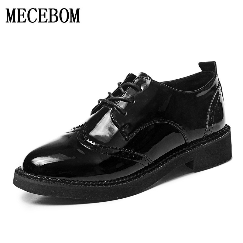 2018 Autumn Women Oxford Shoes Vintage pointed Toe Women Flats Ankle Boots England Style Ladies Shoes Chaussure Femmer 519W pu pointed toe flats with eyelet strap