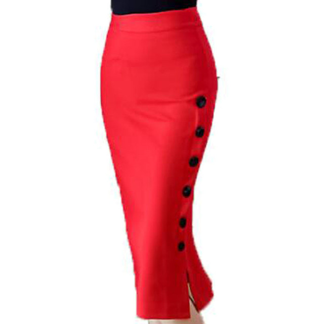 4d1269ab15 Work Office Pencil Skirts Womens Summer Nice Plus Size Midi Skirt Bodycon  Buttons Open Slit Elastic High Waist Skirt Black Red