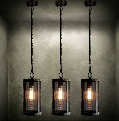Nordic loft style metal mesh industrial vintage pendant for Living room hanging lights
