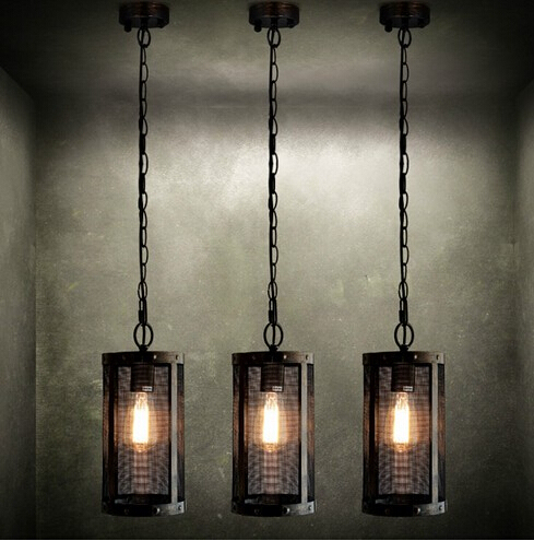Nordic Loft Style Metal Mesh Vintage Pendant Light Fixtures Edison Lighting For Living Dining Room