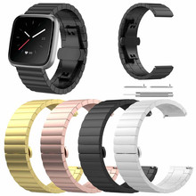 Stainless Steel link Bracelet Watch Band For Fitbit Versa/Lite Premium Luxury Metal Watch Band Strap Quick Release Clasp Strap цена