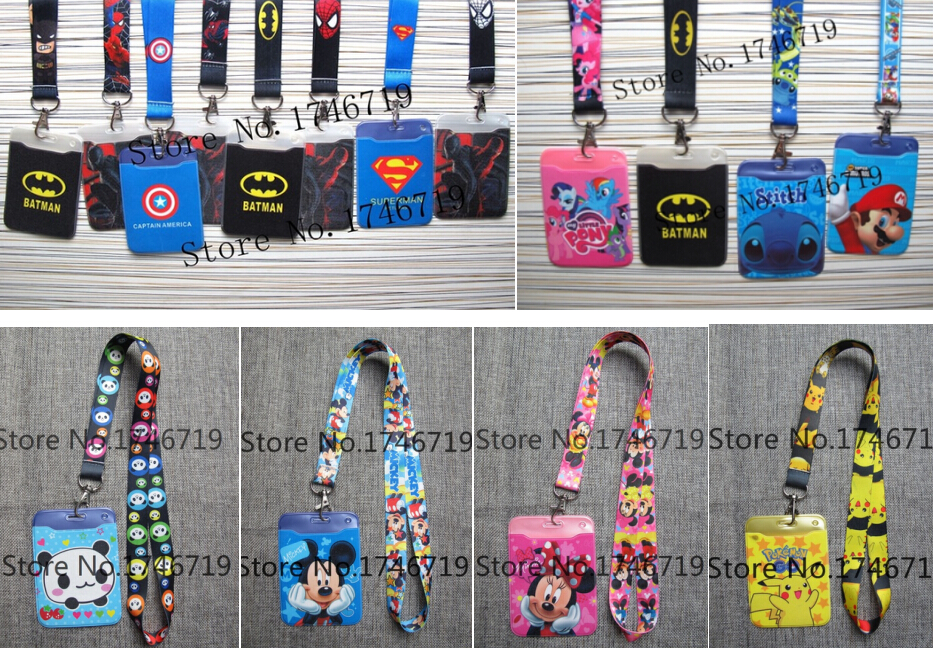 50 pcs Cartoon mix Named Card Holder Identity Badge with Lanyard Neck Strap Card Bus ID