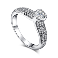 Fashion Noble Round Cut Heart Party Whole White AAA CZ Crystal Silver Ring Size 6 7 8 9 10 For Women Jewelry Girl Friend Gift