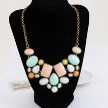 цены New Statement Choker Fashion Charms Geometry Collar Gem Beads Bijoux Necklaces&Pendants Women Jewelry Maxi Necklace