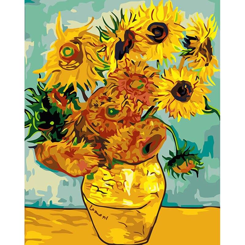 Berühmte Abstrakte Van Gogh sonnenblumen bild an der wand acryl malen nach zahlen malen anzahl färbung durch zahlen TF050