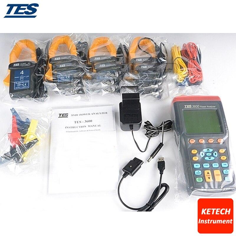 TES3600 nouveau TES-3600 d'analyseur de puissance à 3 phases