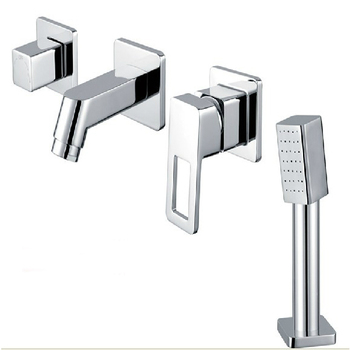 4 piece set brass massage bathtub split water tap with shower,Bathroom cabinet dark wall mounted cold and hot water bath faucets