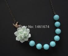 Statement Necklace,Mint Poppy Flower Necklace,Pink Jewelry, Bridesmaid Jewelry ,Beadwork,Bib Necklace,Gift