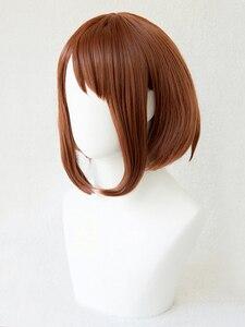 Image 2 - My Hero Academia Boku no Hiro Akademia Uraraka Ochako Short Brown Bobo Heat Resistant Cosplay Costume Wig + Free Wig Cap
