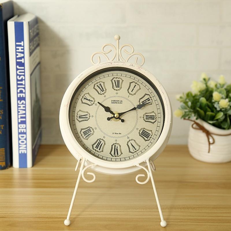 Explosion decorative clocks European style electronic metal alarm clock wrought iron home living room silent clock c
