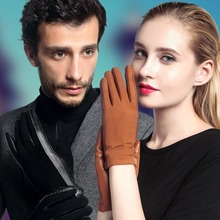 2019 NEW Genuine Leather Gloves Male Female Autumn Winter Plush Lined Couple Lovers Suede Sheepskin Touch Optional 3328