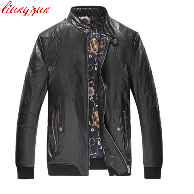 цены Men PU Leather Jackets Brand Winter Snow Warm Thick Jacket And Coats Male Slim Fit Big Size Motorcycle Trench Coats F2359