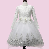Baby Girls Lace Tulle Dress Long Sleeve White Flower Children Princess Wedding Dress And Party Dresses
