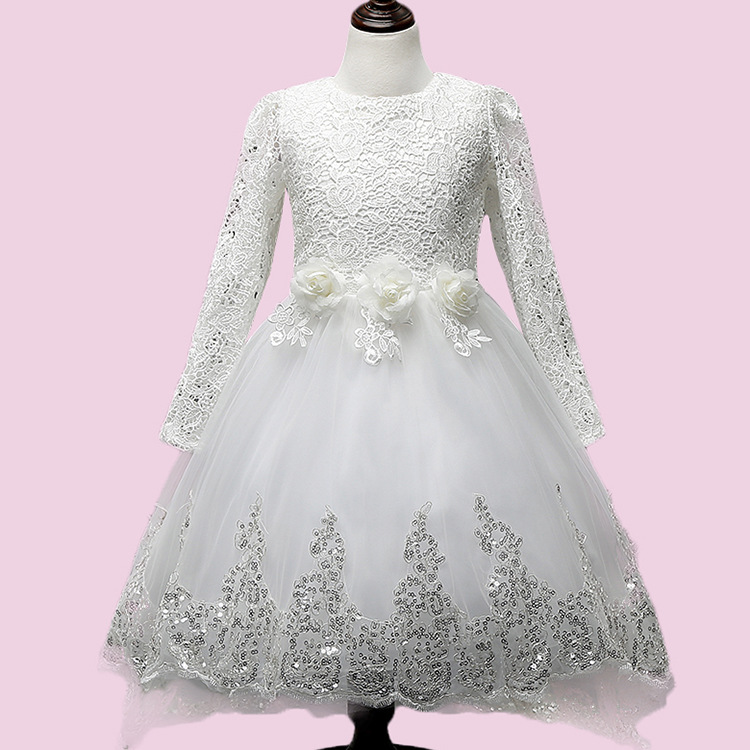 Baby Girls Lace Tulle Dress Long Sleeve White Flower Children Princess Wedding dress and Party Dresses With Trailing Cute Bow
