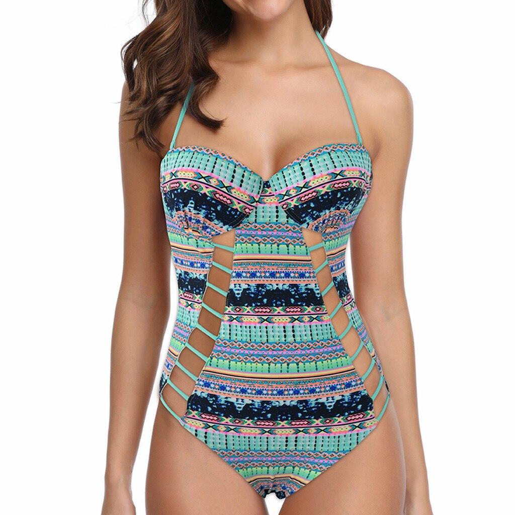 2020 summer Women's Ethnic Print silk Mesh Sexy Bikini One-Piece Swimwear Beach Suit Bathing Suits Bodysuit Monokini Swimsuit 2