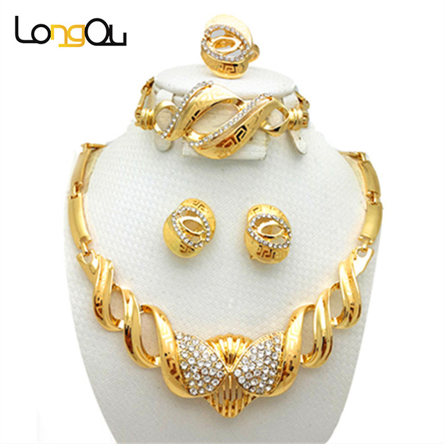 Wedding Bridal Costume Jewelry Sets for femme Gold-color Women jewelry set 2016 African Jewelry Set earrings Necklace ring