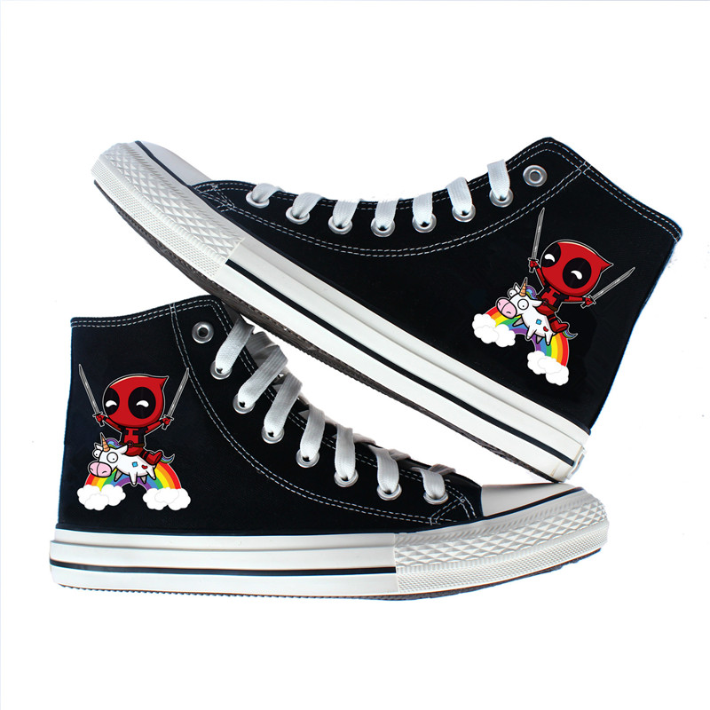 615a2a1079a2 Super Hero Deadpool canvas shoes Printed High top Lace Up Classic women Men Canvas  Shoes Teenagers