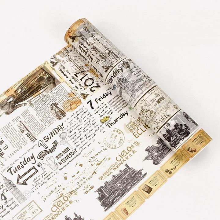 5Design NEW Burning Paper/Letters/Old Newspaper/Ticket Japanese Washi Decorative Adhesive DIY Masking Paper Tape Sticker Label