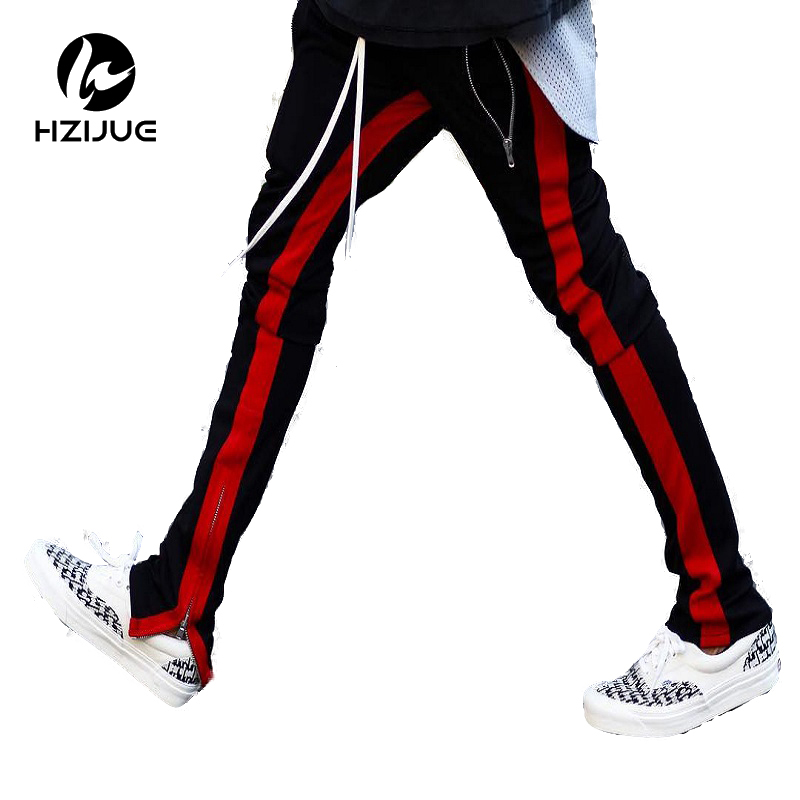 2017 New Fashion 3 Colors Elastic Waist Mens And Womens Track Pants Ankle Zip Tapered Sweatpants For Men Zipper Pocket Trouser