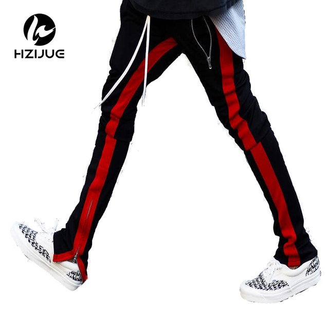 789408dc4d7 2017 new fashion 3 colors elastic waist mens and womens track pants ankle  zip tapered sweatpants