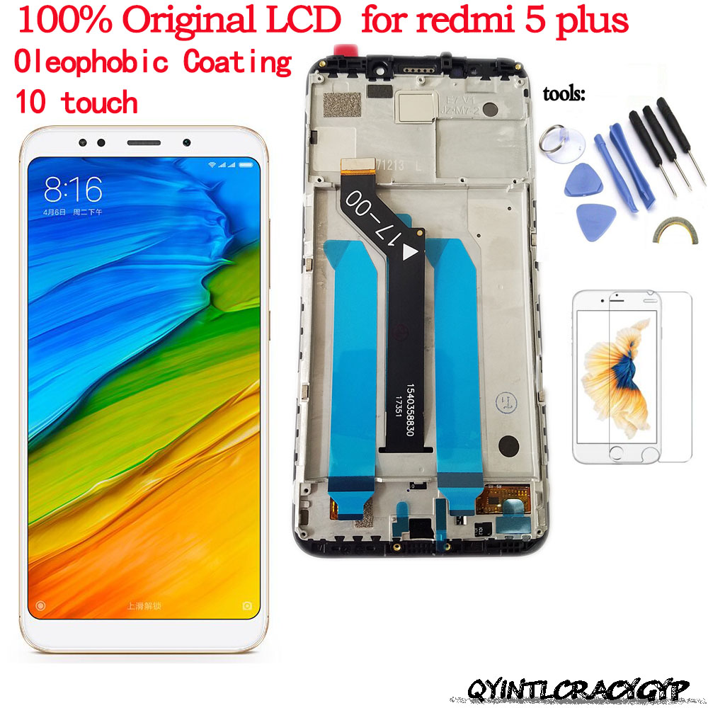 Original LCD For Xiaomi Redmi 5 Plus LCD Display Digitizer Touch Screen Assembly Frame Redmi5 Plus Global Version LCD Screen