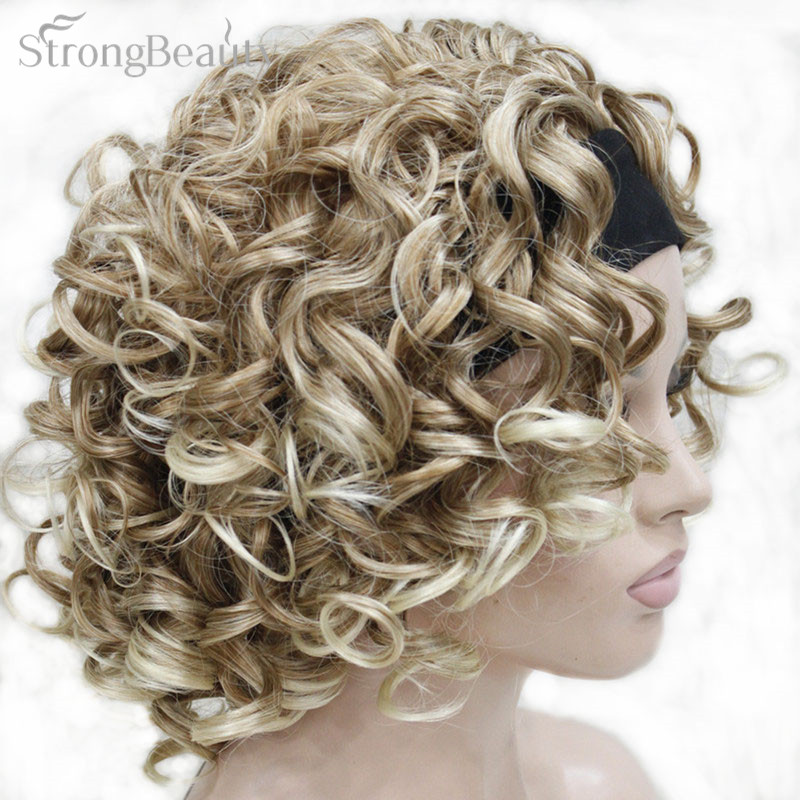 StrongBeauty Short Synthetic Women Blonde/Brown Curly Wigs ...