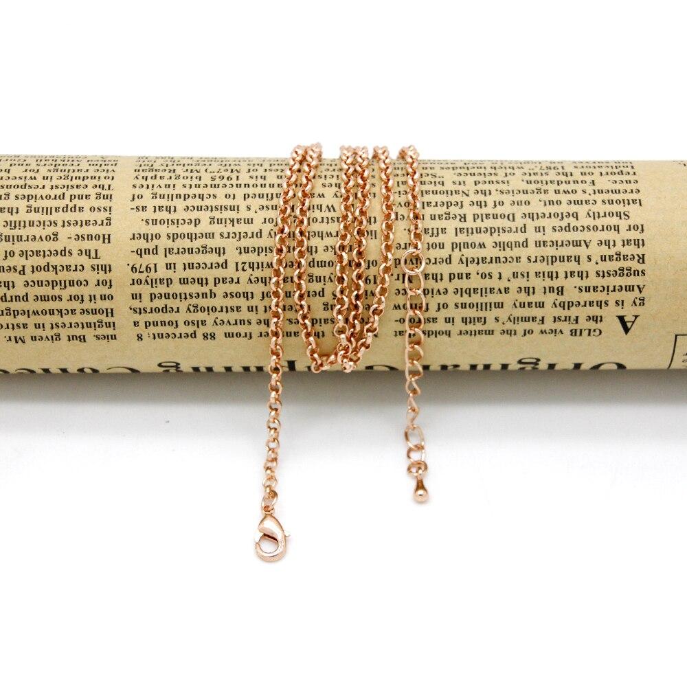 Mode or Rose couleur chaîne collier pour femmes hommes alliage lien chaîne 60 cm en gros chaîne fit pièce/Snap pendentif LSCRG006