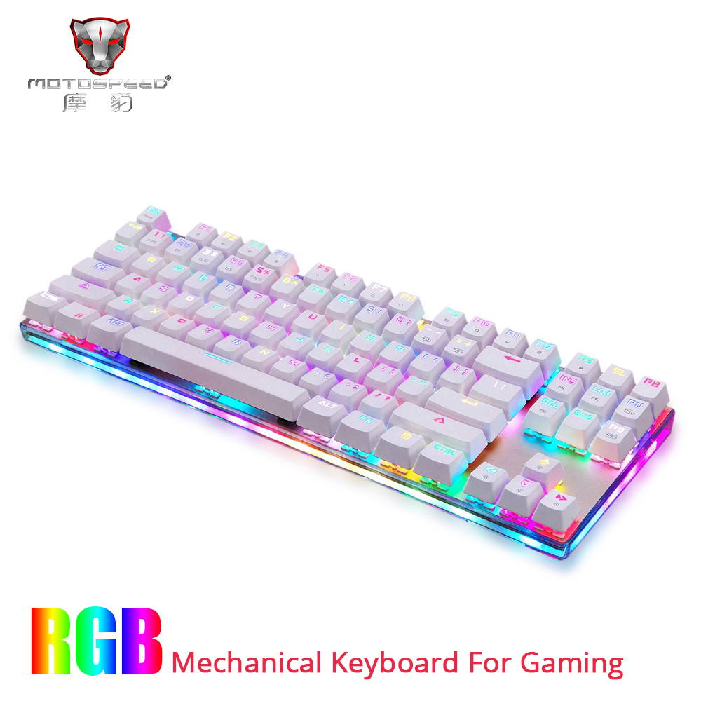 NEW Motospeed K87S USB Wired Mechanical Keyboard Blue Switches Gamer Keyboard with RGB Backlight 87 Keys for PC Computer Gaming(China)