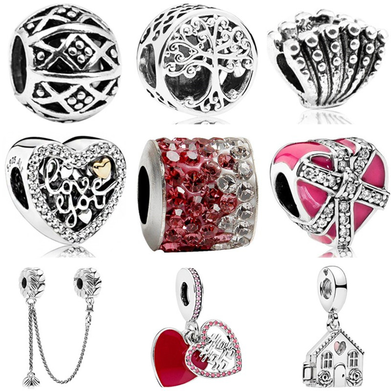 Charms Jewelry House Safety-Chain Tree-Shell Heart-Beads Women Love European-Luxurious