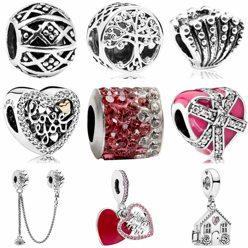 European Luxurious House Love Tree Shell Bird Safety Chain Heart Beads Fit Original Pandora Charms for Women DIY Jewelry