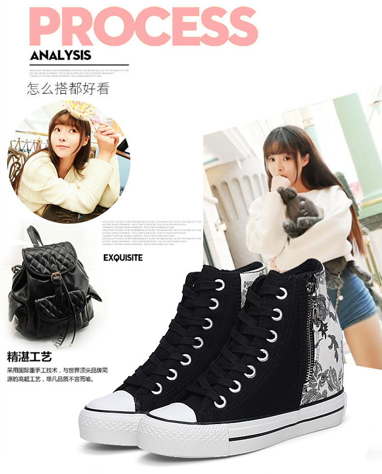 KUYUPP High Top Canvas Women Shoes Superstar Espadrilles Flower Women's Wedges Shoes Lace Up White Casual Shoes Sapatilha S249 (5)