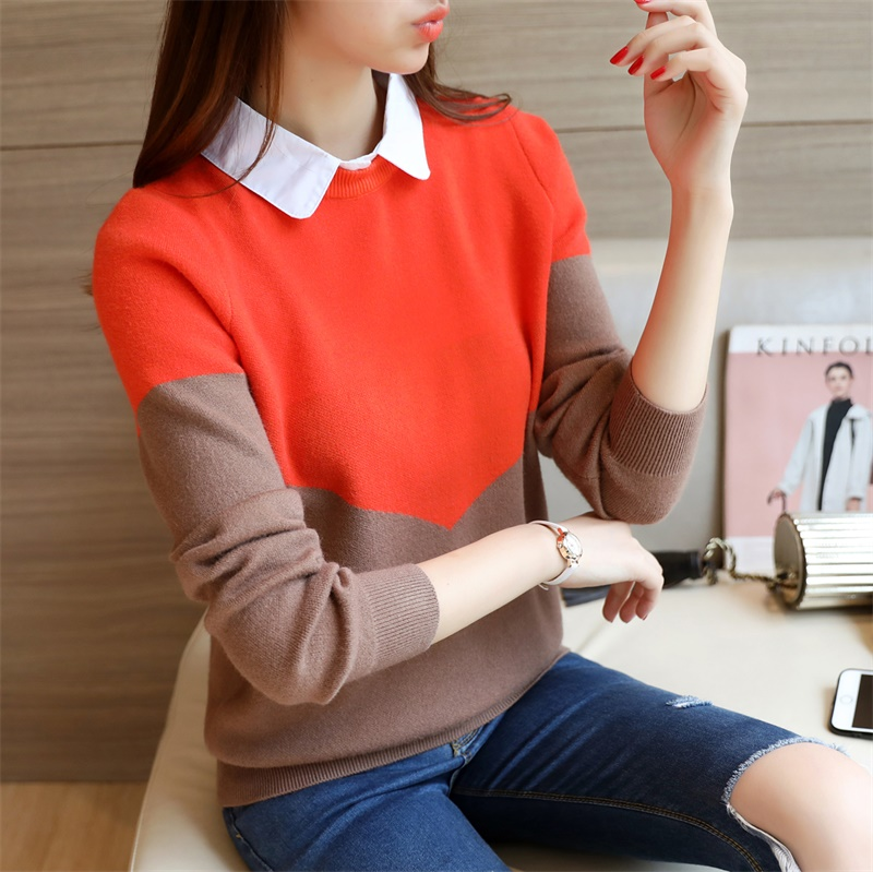 OHCLOTHING 2019 new Korean women's knitted color shirt shirt collar sweater F1517 1