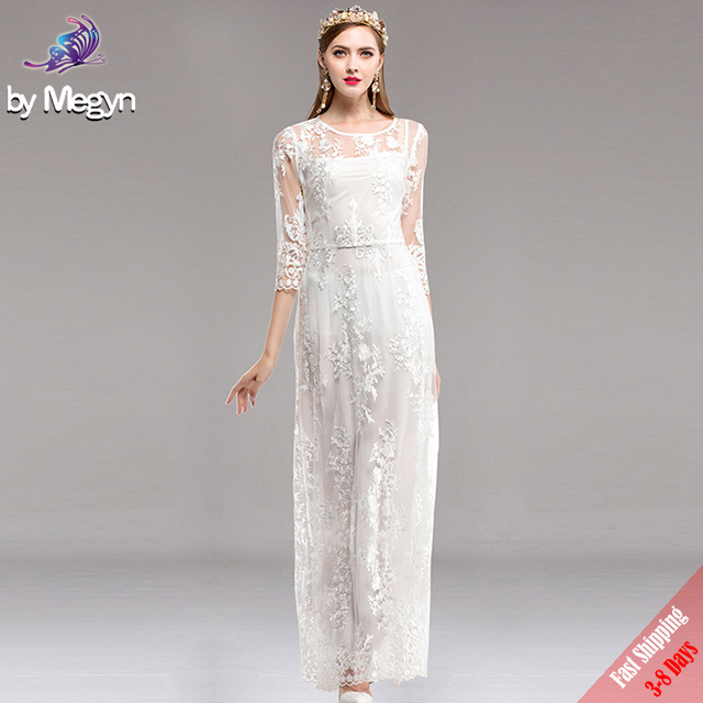 High Quality 2017 Fashion Designer Party Long Dress Autumn Women s Elegant  Pink Floral Embroidered Mesh Maxi Dresses Free DHL b481876fcdca