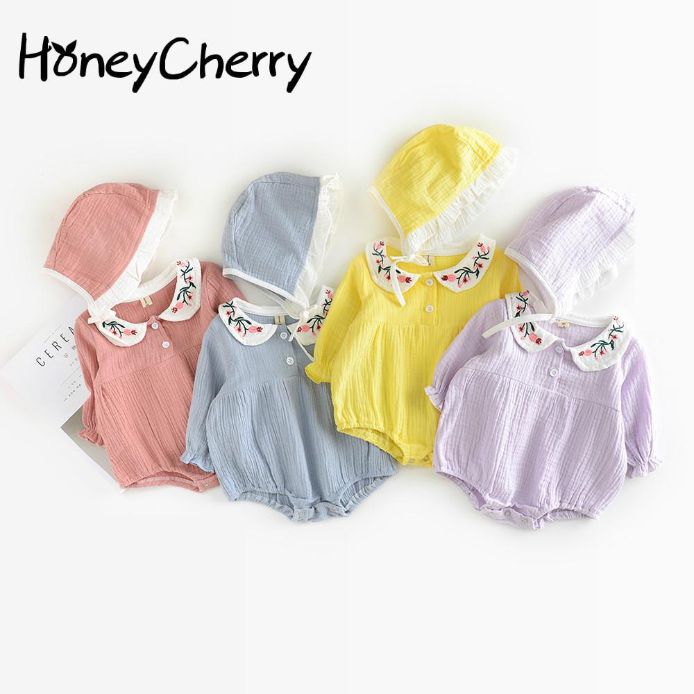 The New Baby Bodysuit Lovely Lapel Embroidered Pocket Pp Conjoined Clothes Baby Girl Clothes Bodysuit Baby strappy racer bodysuit