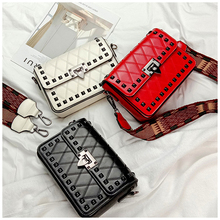 Womens bag Fashion rivet Lingge small square shoulder Messenger wide strap retro
