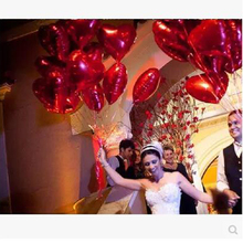 10pcs/lot 10inch pure color balloons love red Heart balloon aluminum foil ballons for wedding love decoration globos